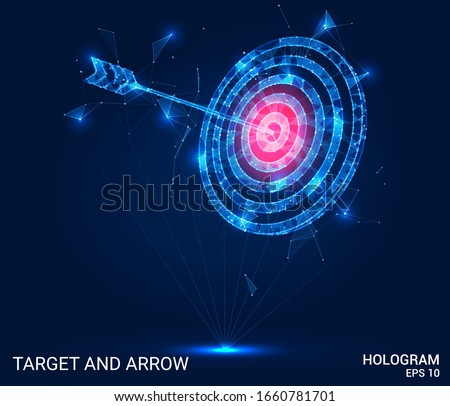 Hologram arrow and the target. An arrow and a target made of polygons, triangles of points, and lines. The arrow and target are low-poly compound structure. The technology concept.