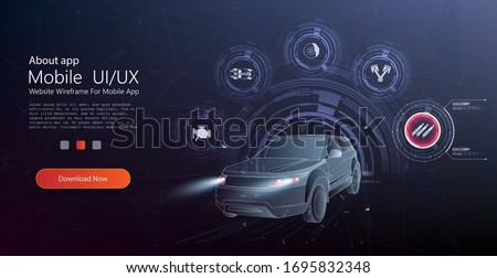 Hologram auto, futuristic polygonal model auto. Smart auto ai hud. Driverless car working modes  vector illustration. Manual control, driver assistance, partial conditional, high automation.Web banner