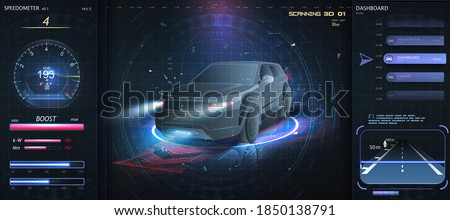 Hologram Auto in HUD UI style. Futuristic car service, scanning and auto data analysis. Virtual car dashboard concept. Futuristic auto in style low poly, wireframe in line. diagnostics in the HUD, GUI