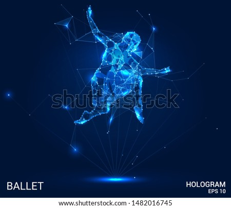 Hologram ballet. Ballerina of polygons, triangles of points and lines. Ballet is a low-poly connection structure. Technology concept.