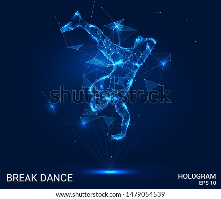 Hologram break dance. The dancer stands on his hands of polygons, triangles of points and lines. Break dance is a low poly connection structure. Technology concept.