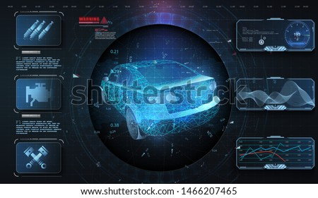 Hologram car style in HUD, UI, GUI. Hardware Diagnostics. Futuristic car service, scanning and auto data analysis. Car auto service, modern design, dagnostic auto. Virtual graphical interface. Vector