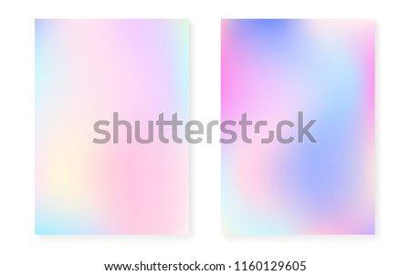 Hologram gradient background set with holographic cover. 90s, 80s retro style. Iridescent graphic template for brochure, banner, wallpaper, mobile screen. Trendy minimal hologram gradient.