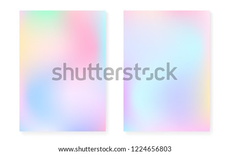 Hologram gradient background set with holographic cover. 90s, 80s retro style. Iridescent graphic template for flyer, poster, banner, mobile app. Vibrant minimal hologram gradient.