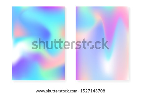 Hologram gradient background set with holographic cover. 90s, 80s retro style. Iridescent graphic template for brochure, banner, wallpaper, mobile screen. Spectrum minimal hologram gradient.