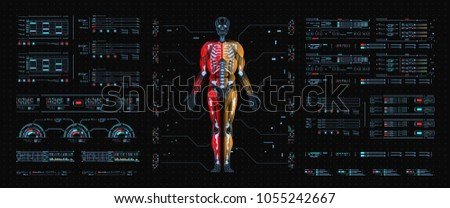 Hologram Human anatomy and skeleton. Abstract health hud ui interface element of medical science.