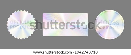 Hologram Label Set Isolated. Vector Holographic Sticker Collection. Geometric Hologram Seal For Product Guarantee, Sticker Design. Product Certification Symbol. Quality Holographic Sticker Set.