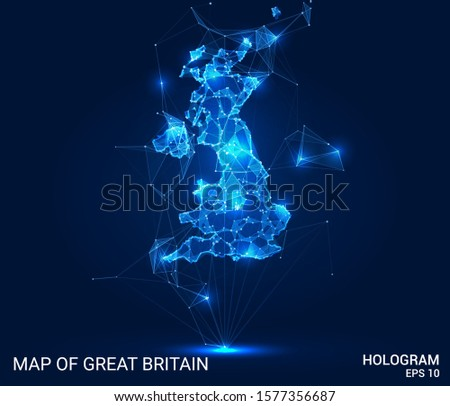 Hologram Of Great Britain. Map of great Britain of polygons, triangles of points and lines. Map of great Britain low poly composite structure. Technological concept.
