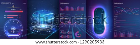 Hologram of the car, scanning. Abstract virtual graphic touch user interface. Car service in the style of HUD. Driverless vehicle. HUD(Head up display). GUI(Graphical User Interface). Vector