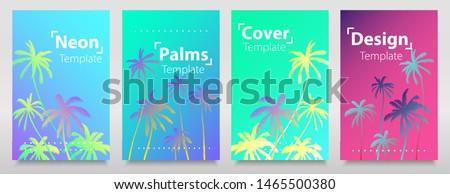 Hologram texture set of iridescent neon palms. Glitch gradiens backgrounds. Liquid bright neon colours design. Art light flyer, trend cards. Stock fotó ©