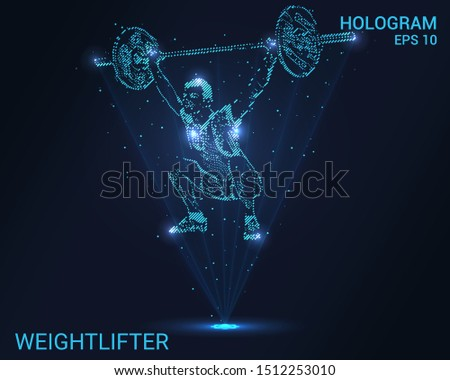 Hologram weightlifter. A holographic projection of power sports. Flickering energy flux of particles. Scientific registration of sports.