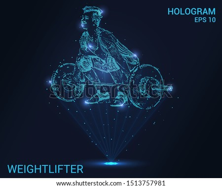 Hologram weightlifter. Holographic projection weightlifter. Flickering energy flux of particles. The scientific design of the sport.