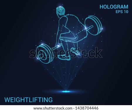 Hologram weightlifter. Weightlifter preparing to raise the bar. Flickering energy flux of particles. The scientific design of the sport.