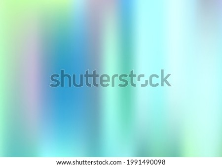 Holograph Dreamy Banner. Rainbow Overlay Hologram Cover. Neon Graphic Overlay, 80s, 90s Music Background Defocused Girlie Foil Holo Teal. Fluorescent Holographic Liquid Girlie Horizontal Wallpaper Stock photo ©