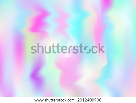 Holograph Dreamy Banner. Unfocused Girlie Foil Holo Teal. Neon Graphic Overlay, 80s, 90s Music Wallpaper Rainbow Overlay Hologram Cover. Fluorescent Holographic Liquid Girlie Horizontal Background Stock photo ©