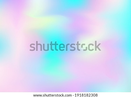 Holograph Minimal Banner. Iridescent Holographic Liquid Light Horizontal Wallpaper Neon Texture Overlay, 80s, 90s Music Background Rainbow Overlay Hologram Cover. Gradient Girlie Foil Holo Teal. Stock photo ©