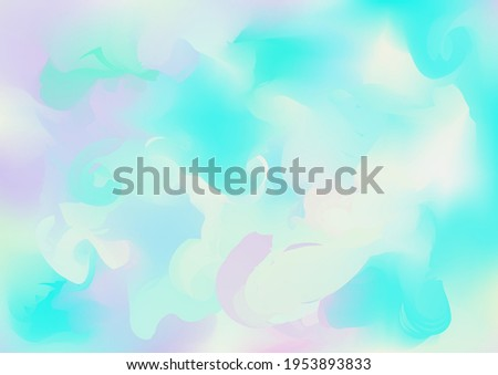 Holograph Trendy Banner. Rainbow Overlay Hologram Cover. Iridescent Holographic Liquid Glam Horizontal Wallpaper Unfocused Girlie Foil Holo Teal. Neon Graphic Overlay, 80s, 90s Music Background Stock photo ©