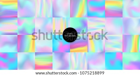 Holographic backgrounds set. Smooth multicolor textures. Holographic backdrops. Hologram backdrops. Pastel trendy blurs. Holographic art. Cover or banner design. Poster design. Logo or text backdrop.