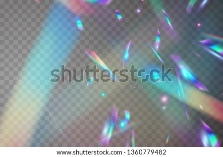 Holographic falling confetti glitters isolated on transparent background. Rainbow confetti iridescent overlay texture. Vector festive foil hologram tinsel with bokeh light effect and glare glitter.