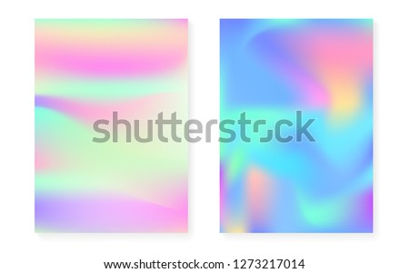 Holographic gradient background set with hologram cover. 90s, 80s retro style. Iridescent graphic template for book, annual, mobile interface, web app. Colorful minimal holographic gradient.