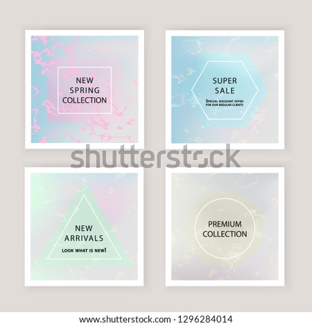 Holographic gradient mesh background with marble stains. Template for banner, mobile screen, brochure, poster