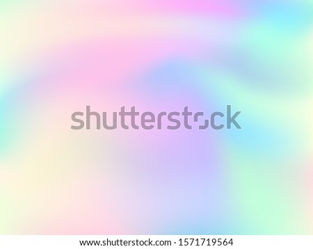 Holographic gradient neon vector illustration. Fashionable pastel rainbow unicorn background. Hologram colors liquid background. Translucent gradient neon holographic backdrop shimmer print.