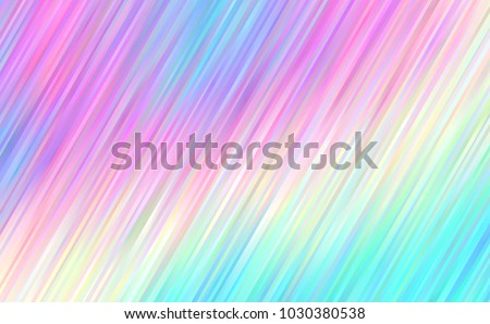 Holographic Gradient Stripes Vector Background. Pastel Rainbow Shiny Lines Texture. Psychedelic Color Neon Hatching Strokes Surface in Cyan, Blue, Pink, Violet, Magenta and Yellow.