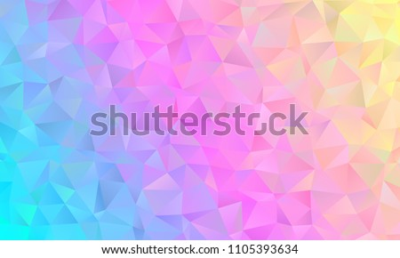 Holographic Low Poly Vector Background. Blue, Pink, Yellow Pastel Rainbow. Vivid Gradient Sparkling Facets. Multicolored Shiny Crystal Texture. Illustration for Web, Mobile Interfaces or Print Design.