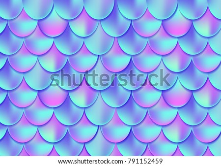 Holographic mermaid tail card or background. Mesh Gradient mermaid card for party. Fish skin magic background. Print design for textile, posters, greeting cards, cases etc.