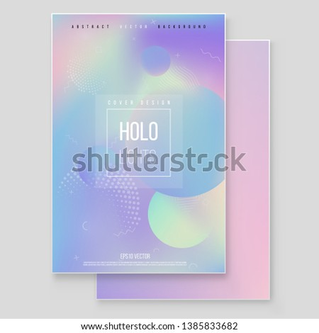 Holographic paper magic foil marble cover vector set. Minimalistic hipster design Modern tredy Memphis style.