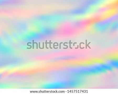 Holographic paper trendy background in neon rainbow colors. Fashion magazine cover background with neon pastel gradient hologram. Holographic vector design for poster, booklet, catalog cover.