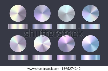 Holographic, rainbow and golden foil texture background set. Vector graphic conical iridescent neon patterns. Gold hologram metalic round gradient collection.