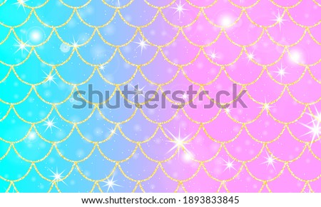 Holographic rainbow background. Gold scales. Mermaid print. Stock photo ©