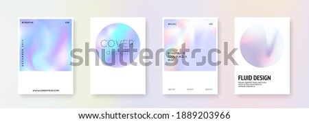 Holographic shape set. Abstract backgrounds. Liquid holographic shape with gradient mesh. 90s, 80s retro style. Pearlescent graphic template for placard, presentation, banner, brochure.