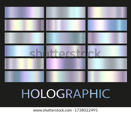 Holographic, silver, bronze and golden foil texture background set. Vector graphic iridescent neon patterns. Gold hologram metalic gradient collection.