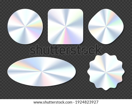 Holographic stickers, hologram labels of different shapes. Round, square, oval, rhombus and wavy iridescent foil or silver colored blank rainbow shiny emblems, Realistic 3d vector illustration, set