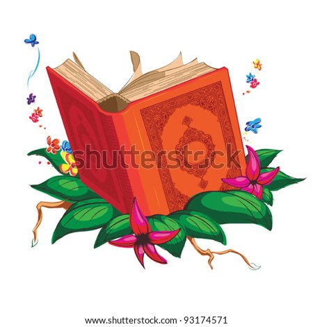 Holy Book on Leaves Surrounded with Flowers - stock vector