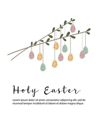 Holy Easter. Cute colored Easter egg. Eco rustic decoration. Vector flat cartoon illustration. Perfect for poster, print, card, invitation, greeting, tag