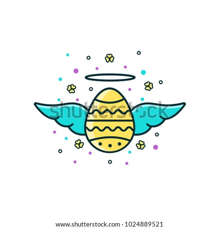 Holy Easter egg with wings and halo - flat color line icon isolated on white background. Spring Christian holiday sign, symbol, image, pictogram.