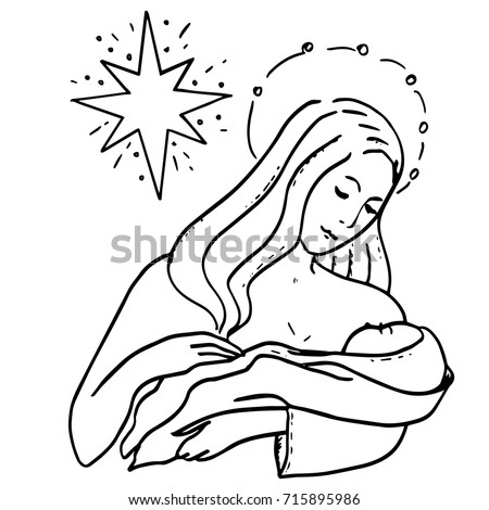 holy family and christmas star