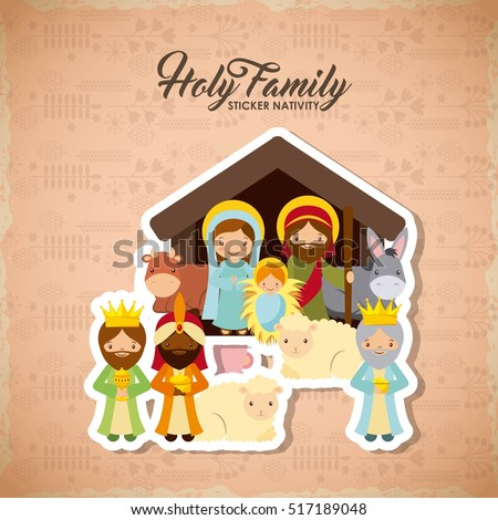 Stock Photo holy family manger scene with animals and the three wise men. merry christmas colorful design. vector illustration