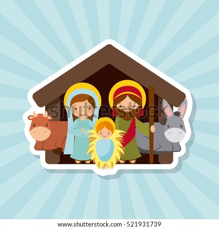 holy family. traditional religious scene of the manger. colorful design. vector illustration