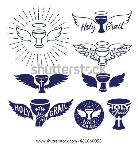 holy grail. vector graphic illustrations set, isolated on white background.