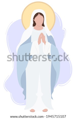 Holy Mary Mother of God or Mother of God. Virgin Mary in a blue maforia prays meekly. Vector illustration for Christian and Catholic communities, design, decoration of religious holidays and history Stock fotó ©