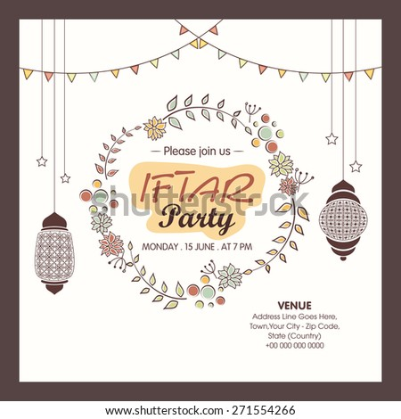 Holy month of muslim community, Ramadan Kareem Iftar party celebration invitation card with date, time and place details. #271554266