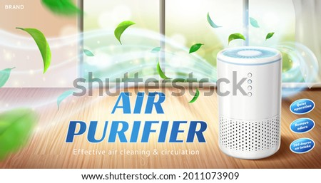 Home air purifier ad. Fresh air flows out of air cleaner appliance in living room space
