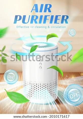 Home air purifier ad. Fresh air with leaves flowing out of air purifier machine in indoor space