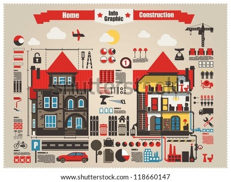 home and construction info graphic elements - stock vector