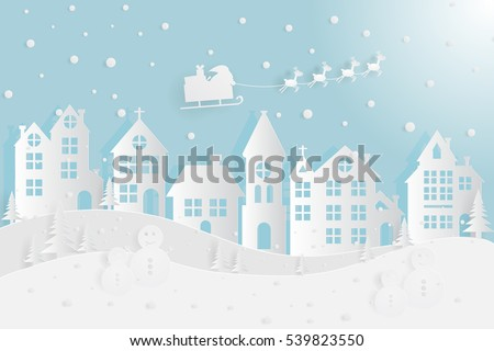 Home and Santa flying in a sleigh with reindeer paper cut in winter.