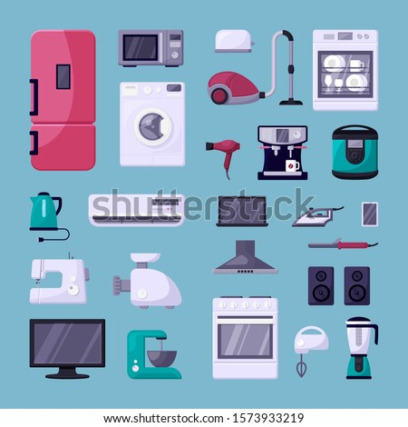 Home appliance color flat vector illustrations set. Household electric devices collection. Refrigerator, microwave oven, coffee machine. Domestic equipment. House electronics isolated cartoon icons